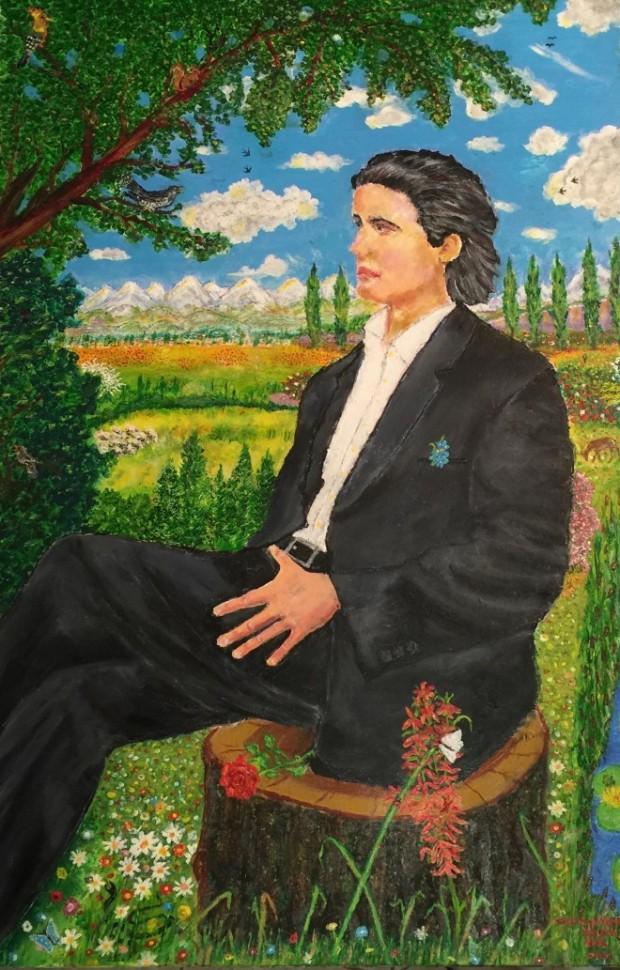 """2015.Pictura de CRISTIAN PETRU BALAN (SUA)-""""JUNELE MIHAI EMINESCU ,RELAXÂNDU-SE ÎN MIJLOCUL NATURII,"""" (lucrarea este pictată pe pânză, în ulei şi culori acrilice , 93 x 62 cm."""