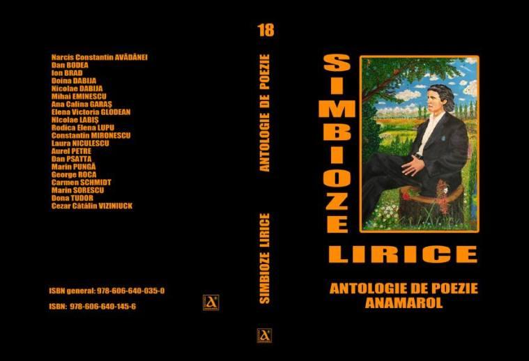 simbioze lirice.antologie de poezie -editura anamarol bucuresti-coperta eminescu relaxandu-se in natura-pictura de cristian petru balan
