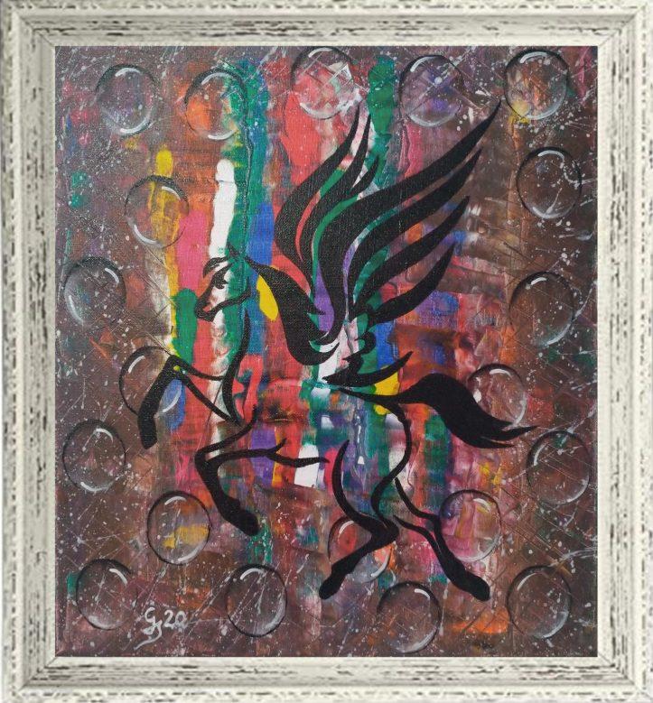 ZBOR – lucrare abstractă de Gheorghe A. Stroia, acrilic pe pânză cu șasiu 40×40.